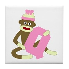 Sock Monkey Monogram Girl Q Tile Coaster
