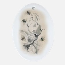 Vintage Bee Nest Illustration Ornament (Oval)