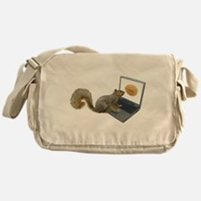 Squirrel at Computer Messenger Bag