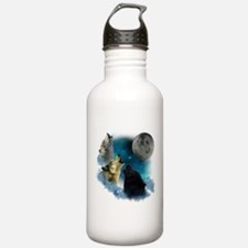 Northern Lights Wolfs Howling Water Bottle