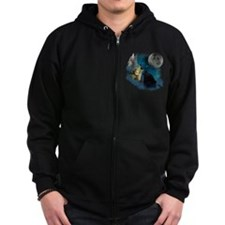 Northern Lights Wolfs Howling Zip Hoodie