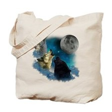 Northern Lights Wolfs Howling Tote Bag