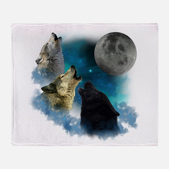 Northern Lights Wolfs Howling Throw Blanket