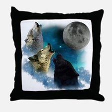 Northern Lights Wolfs Howling Throw Pillow