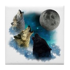 Northern Lights Wolfs Howling Tile Coaster