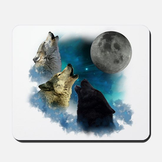 Northern Lights Wolfs Howling Mousepad