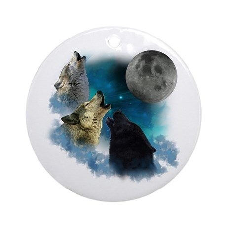 Northern Lights Wolfs Howling Ornament (Round)