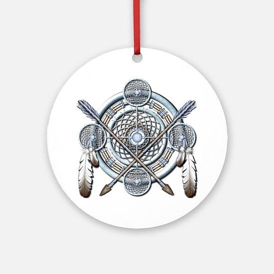 Winter Blue Dreamcatcher Ornament (Round)