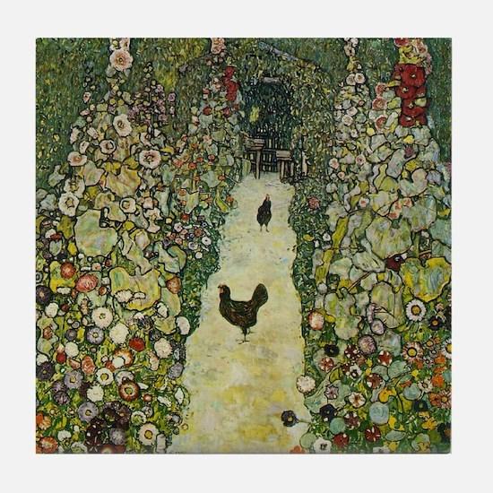 Gustav Klimt Garden Path Chicken Art Tile Coaster