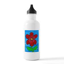 Red Flower Water Bottle