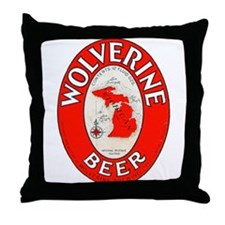 Michigan Beer Label 1 Throw Pillow