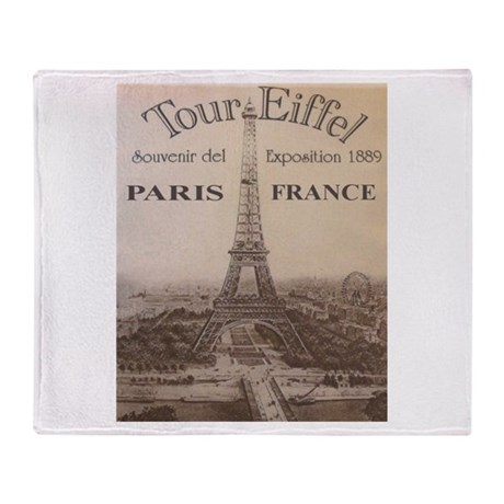 VINTAGE EIFFEL TOWER Throw Blanket
