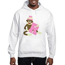 Sock Monkey Monogram Girl R Hoodie