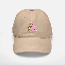 Sock Monkey Monogram Girl R Baseball Baseball Cap