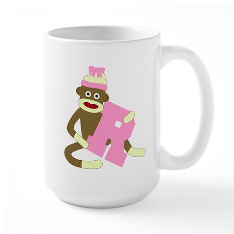 Sock Monkey Monogram Girl R Large Coffee Mug