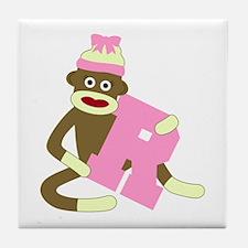 Sock Monkey Monogram Girl R Tile Coaster