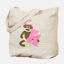Sock Monkey Monogram Girl R Tote Bag