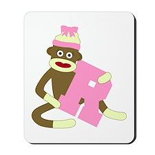Sock Monkey Monogram Girl R Mousepad