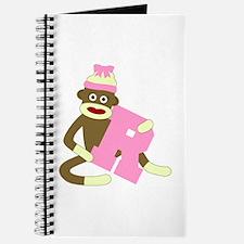 Sock Monkey Monogram Girl R Journal