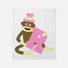 Sock Monkey Monogram Girl R Throw Blanket