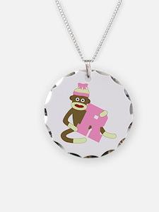 Sock Monkey Monogram Girl R Necklace