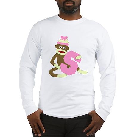 Sock Monkey Monogram Girl S Long Sleeve T-Shirt