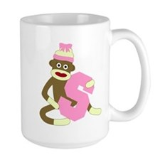 Sock Monkey Monogram Girl S Large Coffee Mug