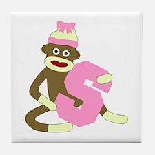 Sock Monkey Monogram Girl S Tile Coaster