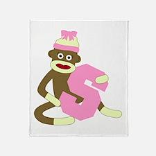 Sock Monkey Monogram Girl S Throw Blanket