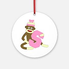 Sock Monkey Monogram Girl S Ornament (Round)