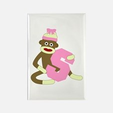 Sock Monkey Monogram Girl S Rectangle Magnet