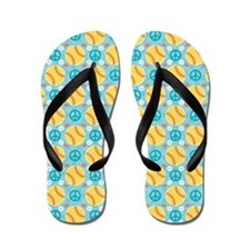 Peace Love Softball Flip Flops