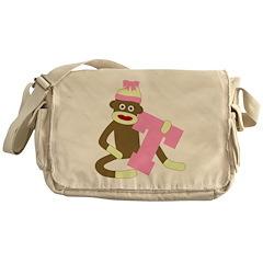 Sock Monkey Monogram Girl T Messenger Bag