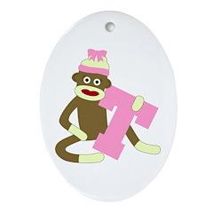 Sock Monkey Monogram Girl T Ornament (Oval)
