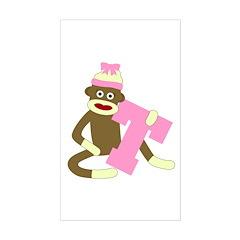 Sock Monkey Monogram Girl T Sticker (Rectangle)