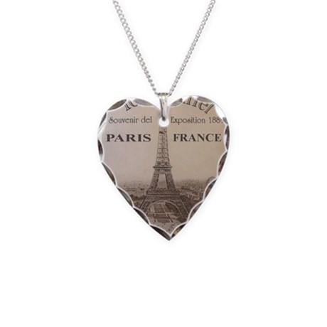 VINTAGE EIFFEL TOWER Necklace Heart Charm