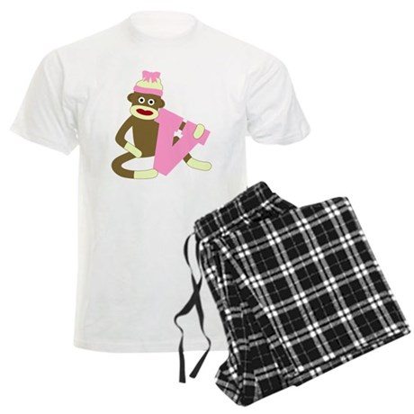 Sock Monkey Monogram Girl V Men's Light Pajamas