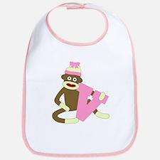 Sock Monkey Monogram Girl V Baby Bib