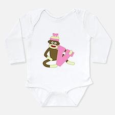 Sock Monkey Monogram Girl V Long Infant Bodysuit