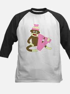 Sock Monkey Monogram Girl V Kids Baseball Jersey