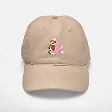 Sock Monkey Monogram Girl V Baseball Baseball Cap