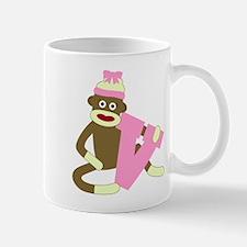 Sock Monkey Monogram Girl V Coffee Mug