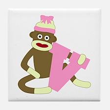 Sock Monkey Monogram Girl V Tile Coaster