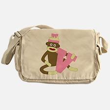 Sock Monkey Monogram Girl V Messenger Bag