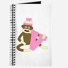 Sock Monkey Monogram Girl V Journal