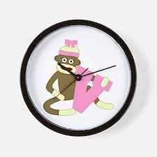 Sock Monkey Monogram Girl V Wall Clock
