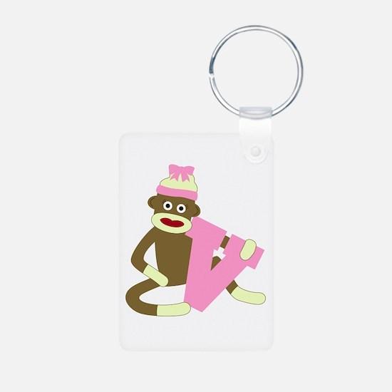 Sock Monkey Monogram Girl V Aluminum Keychain