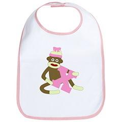 Sock Monkey Monogram Girl X Baby Bib