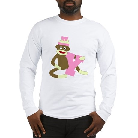 Sock Monkey Monogram Girl Y Long Sleeve T-Shirt