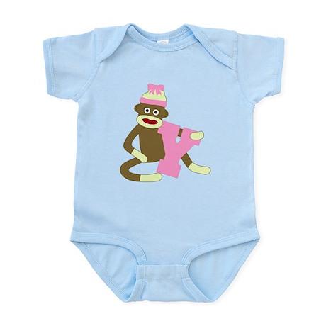 Sock Monkey Monogram Girl Y Infant Bodysuit